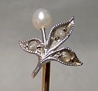 Victorian 15K DIAMONDS and Pearl STICKPIN Cravat Pin 1880-90 Lily