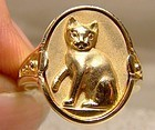 10K Yellow Gold Cat Ring 1940s 1970s 1980s - Size 6