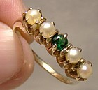 14K Green Topaz & Pearls Row Ring 1930s 1940s - Size 7-1/2