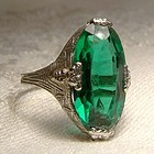 Art Deco 10K White Gold Synthetic Emerald Filigree Cocktail Ring 1920s