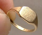 10K Yellow Gold Baby or Child Signet Ring 1960s - Size 1