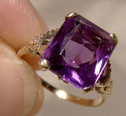 14K Synthetic Alexandrite Ring 1930s - Size 5-1/2