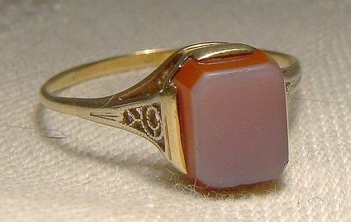 Art Deco 14K Yellow Gold Sardonyx Ring 1920s 14 K Size 8-1/2