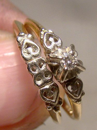 10K Wedding Band and Engagement Diamond Ring Set With Hearts 1940s