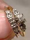 10K 14K Diamond Wedding Band Matching Engagement Ring Set Hearts 1940s