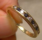 14K Yellow Gold Birks Blue Sapphire and Diamonds Row Ring 1970s 14 K