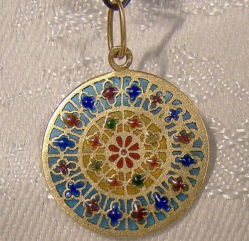 18K Yellow Gold Plique-a-Jour Enamel Stained Glass Window Charm Pend