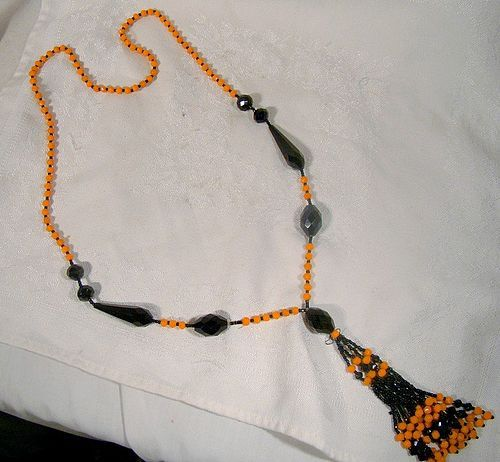 Art Deco French Jet Orange Cut Glass Beaded Flapper Sautoir Necklace