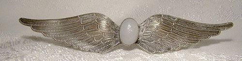 Edwardian Angel Wings Silver Plated Pin or Brooch with White Glass Cab