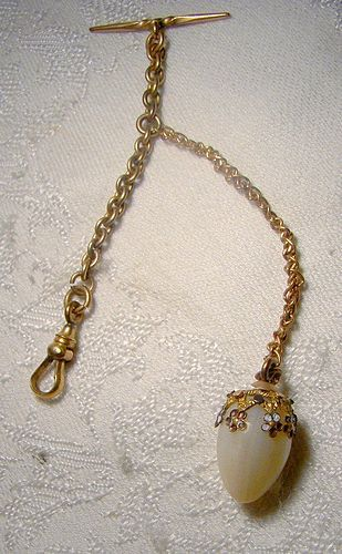 Victorian Mother of Pearl Egg Vest Watch Fob with Enamel 1880 1900
