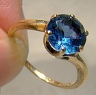 10K Blue Spinel Yellow Gold Ring 1940s -Size 6-1/4
