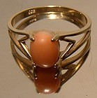 10K Pink Coral Modernist Style Yellow Gold Ring 1960s - Size 7-1/4