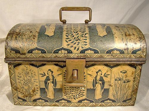 Antique Chinese Lady Motif Tea Chest Tin with Hasp