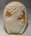 Horseshoe Shaped Shell Cameo - 1930s 1940s New Old Stock NOS Unset