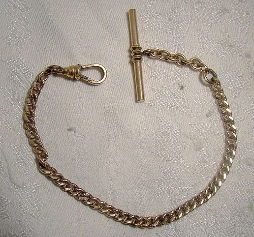Victorian Gold Filled Engraved Curb Link Gentleman's Watch Fob Chain