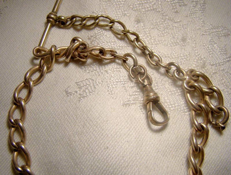Victorian Gold Filled Curb Link Gentleman's Watch Fob Chain Necklace