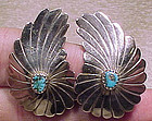 NAVAJO Sterling Silver and TURQUOISE Wing Shape Clip On EARRINGS 1940s