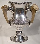 Mauser Edwardian Sterling Silver Loving Cup or Tyg with Antler Horn