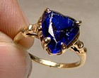 10K True Blue Synthetic Sapphire Heart Sweetheart Ring 1940s