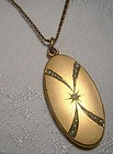 Edwardian Gold Filled Seed Pearl Photo LOCKET Pendant on Chain 1900-10