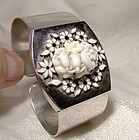 Art Deco Floral Molded Glass Enamel Chrome Clamper Cuff Bracelet 1934