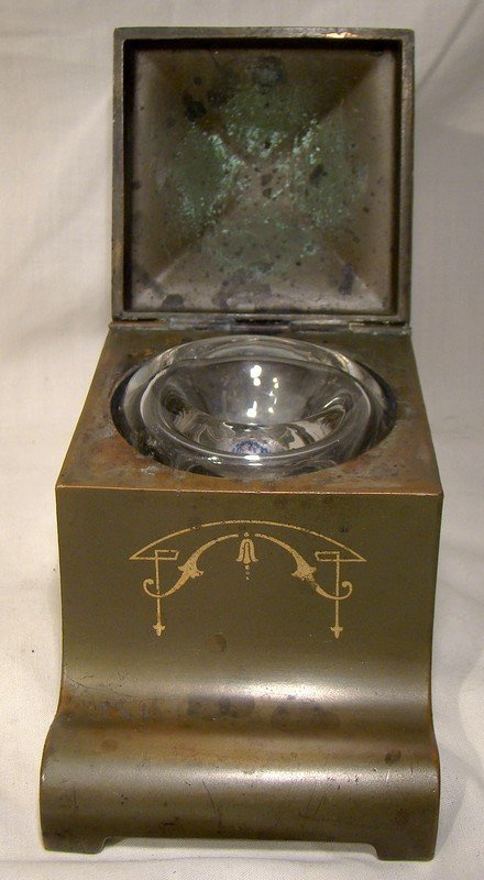 Arts & Crafts Patinated Bronze Ink Well 1900 1910