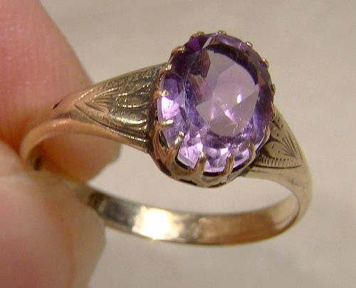 12K Yellow Gold & Sterling Silver Victorian Amethyst Ring 1897