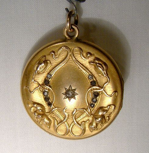 Art Nouveau Poppies Gold Filled Photo Locket with Paste Stones 1900