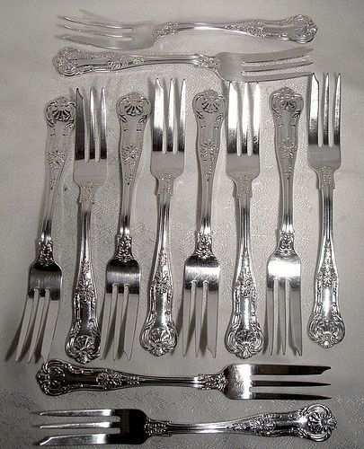 12 Birks Regency Kings Pattern Silver Plated Pastry Forks
