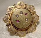 15K Rubies Seed Pearls Shamrocks Memento Pin Brooch 1875