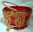 Victorian Aesthetic Butterflies Gilt Basket with Cranberry Glass Bowl