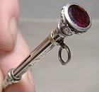 Sterling Propelling Extending Pencil with Garnet Top 1900 - Chatelaine