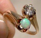 10k Rose Gold Opal and White Sapphire Crossover Victorian Ring 1890