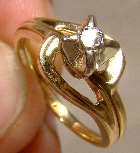 14K Custom Made Diamond Ring 1960s 1970s - Size 5-3/4