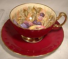 Aynsley D. Jones Burgundy Red Fruit Tea Cup and Saucer 1950s