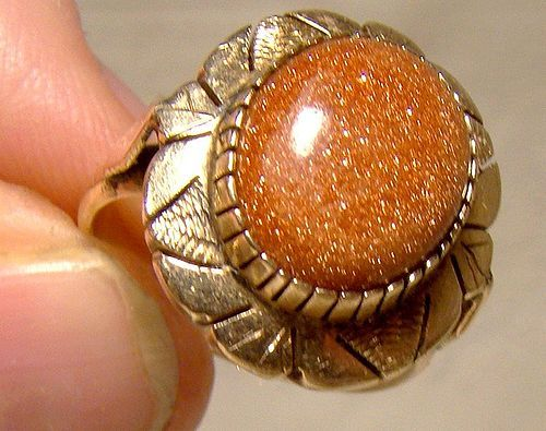 14K Rose Gold Goldstone Art Deco Hand Made Statement Ring 1930