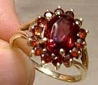 10K Garnets Halo Ring with Split Band 1960s- Size 7