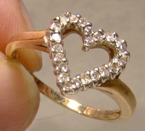 10K Diamonds Open Heart Ring 1980s - Engagement or Birthday Gift