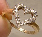 10K Diamonds Open Heart Ring 1980s - Engagement or Birthday Gift