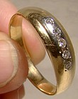 Man's 14K Five Diamonds Row Wedding Band Ring 1960s - Size 13-1/4