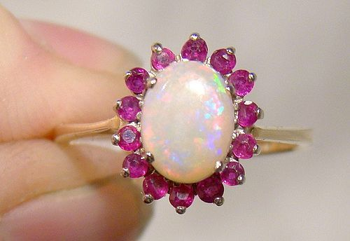 10K Opal and Ruby Halo Ring 1950s 1960s - Size 7