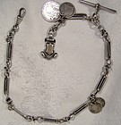Victorian Sterling Silver Ornate Link Silver Coins Watch Chain