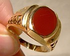 Man's 10K Carnelian Modernist Ring 1980s - Size 12-1/4 Great Style