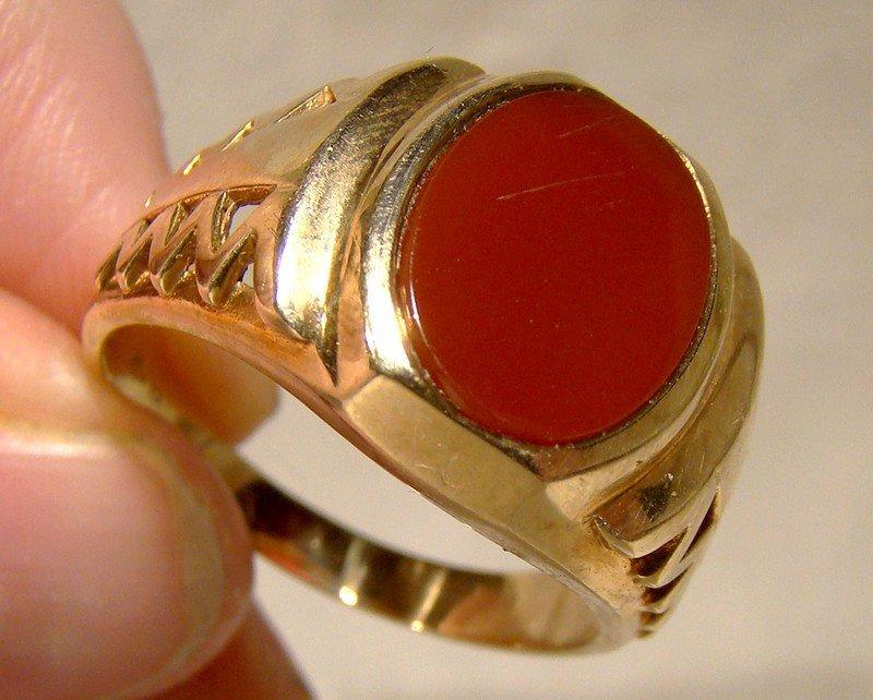 Man's 10K Carnelian Modernist Ring 1980s - Size 12-1/4 Great Style