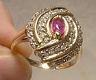 10K Ruby and Diamonds Swirl Statement Ring 1970s - Size 7