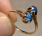 Victorian 10K Rose Gold Synthetic Blue Sapphires Crossover Ring 1890s