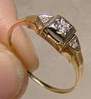 Art Deco 14K 18K Diamonds Engagement Ring 1920s - Bridal Wreath Size 8