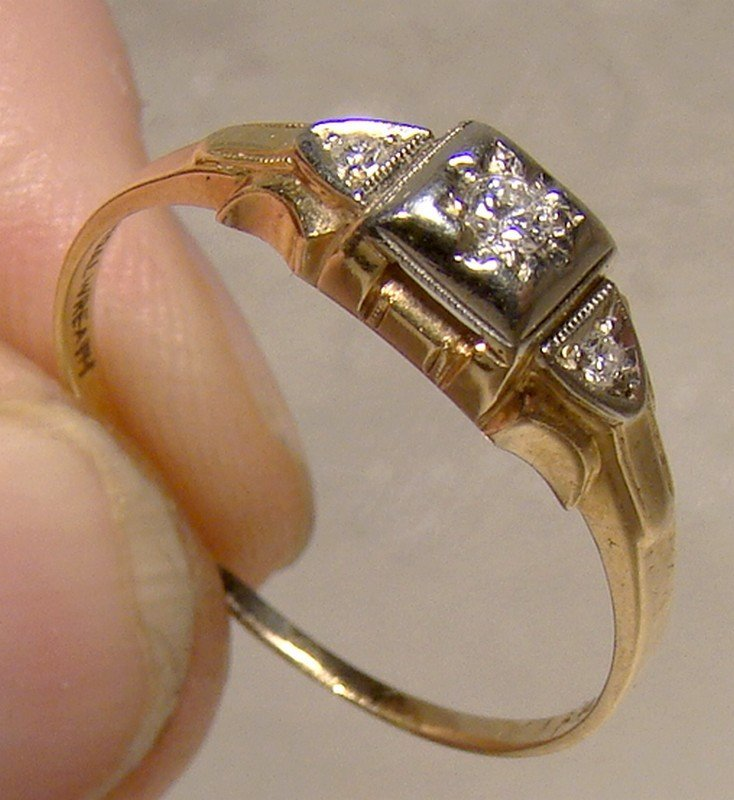 Art Deco 14k 18k Diamonds Engagement Ring 1920s Bridal Wreath Size 8 Item 1348956