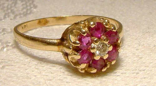 14K Rhodolite Garnets and Diamond Flower Head Ring 1970s