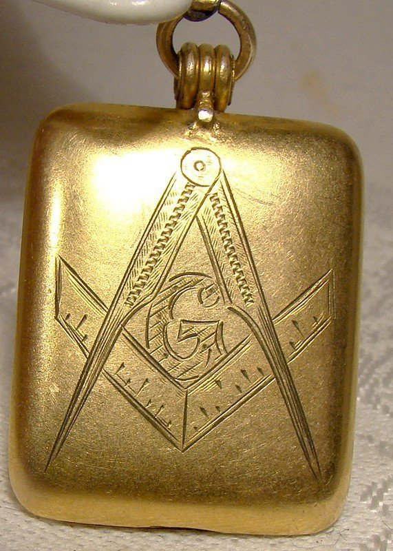 Victorian Masonic Gold Filled Rectangular Photo Locket Watch Fob 1900